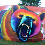 """""""Osso Rabioso""""  Graffiti by Shalak. At the Encontro Street of Styles in Curitiba, Brazil. 2013"""