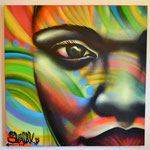 """""""Niña Colorida"""" By Shalak  Spraypaint on Canvas (4ft x 4ft) 2013 ( Original available for Purchase - Currently being exhibited at the City Hall Toronto Public Library for the Pan-American Games)"""