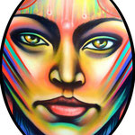 """""""METAMORFOSIS #1""""  By Shalak.  Spraypaint on wood (1.80m x 1.20m Oval) 2011, Brazil (Original available for Purchase)"""