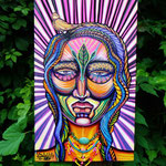 InnerIlluz Spiritmask By: Shalak.  Acrylic and magic jewel necklace on Canvas (30cm x 50cm) 2012, Brazil (Original available for Purchase)