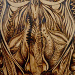 """Mascara Organika"" by Shalak. Pirografo (Wood burning technique on wood)  2012 , Brazil (Original available for Purchase)"