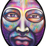 """""""METAMORFOSIS #2""""  By Shalak.  Spraypaint on wood (1.80m x 1.20m Oval) 2011, Brazil (Original available for Purchase)"""