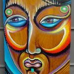 """""""Mulher Madeira""""  By Shalak. Acrylic on wood (70 cm x 30cm)  2011   (Sold - Private Collector - Brazil)"""