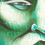 """""""Mascara Verde"""" By Shalak. Mixed media on wood,  2011, Brazil    (Sold -Private Collection -Brazil)"""