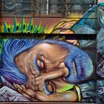 """""""Godimen"""" detail of mural by Shalak. Downtown, Sao Paulo, Brazil.  2012   (rua Conselheiro Nebias com rua Duque de Caxias, Centro)"""