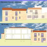 Riqualificazione urbana Acicatena - Comparto edilizio n.7 - Sezione e prospetto