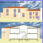 Riqualificazione urbana Acicatena - Comparto edilizio n.5 - Sezione e prospetto
