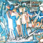 """""""Wir sind das Volk"""", Wachsstifte auf Papier, Privatbesitz"""