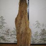 筑波東山講中 奉納 (椿の古木の皮に文字が彫ってあります)