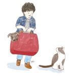 旅行に出かける男の子・ネコ・イヌのイラスト-photoshop