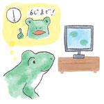 カエルがテレビを見ているイラスト