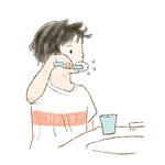 一人で歯磨きをするイメージ