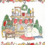 冬・クリスマスのイラストー水彩(未年)