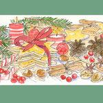 冬・クリスマスのイラスト-水彩