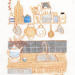 キッチンでボウルにはまった猫のイラスト-インク、水彩