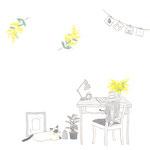 猫とミモザを飾った机のイラスト-photohsop