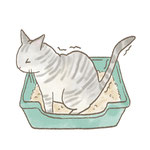 トイレで踏ん張っている猫のイラスト