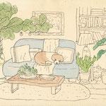 リビングのソファでくつろぐ犬のイラスト-ペン、水彩