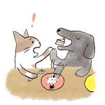 イヌがおやつを食べてしまうイラスト
