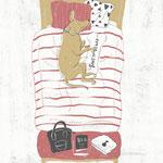 イヌがベッドで寝ているイラスト-photoshop