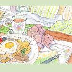 春・ベッドで朝食のイラストー水彩