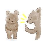 クマが怒られているイラスト