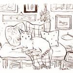 ベンチでくつろぐ猫のイラスト-インク