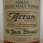 Arran 15th Anniversary, bottled especially for Jens Steinert, distilled 1996, 56,5%