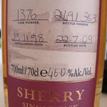 Single Sherry cask 1536, 23.11.1998/22.07.2009, 46%, 363 bottles