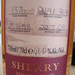Single Sherry cask 1536, 23.11.1998/22.07.2009, 46%, 363 bottles