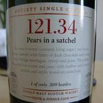 SMWS cask 121.34, Pears in a satchel, 55,4%, 309 bottles, 10 years