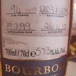 Single Bourbon cask 94, 19.07.1999/ 26.04.2010, 57,3%, 209 bottles