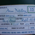 Arran Douglas of Drumlanrig, cask-reference LD 5994, 46%, dist. August 1996, bottled March 2010, 252 bottles