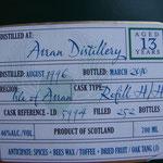 Arran Douglas of Drumlanrig, cask-reference LD 5994, 46%, dist. August 1996, bottled March 2010, 252 bottles