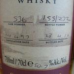 Single Sherry Cask 536, 14.04.1997/28.04.2010, 50,7%, 210 bottles
