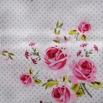 weiß mit mintfarbenen Punkten und pinken Rosen