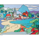 """D'après """"Paysage montagneux au bord d'un lac"""" de Giulio Campagnola"""