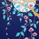 Sakura (inspiration haiku de Bashô) - 50x100 cm - acrylique - 500 €