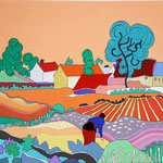 Le mas provençal (inspiration Van Gogh) - 73x54 cm - acrylique - indisponible