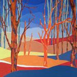 La forêt rouge - 80x80 cm - acrylique - indisponible