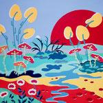 Les pétales allègres - 80x80 cm - acrylique - 800 €