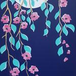 Sakura (inspiration haiku d'Issa) - 50x100 cm - acrylique - 500 €