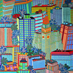 New York Manhattan II - 80x80 cm - acrylique - indisponible