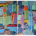 Quatre tableaux de New York formant un quadriptyque  - 320 x 80 cm - acrylique
