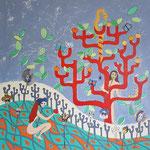 Le jardin d'Eden - 80x80 cm - acrylique/collage -  600 €