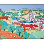 """D'après """"Vue d'une ville dans un paysage montagneux"""" de Jan van Scorel"""
