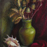 Натюрморт с раковиной и красной драпировкой, х.м., 40Х50 см., 2006