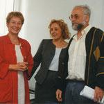 Senatorin Christine Bergmann, Verbundmoderatorin Helga Karl, Betriebsratsvorsitzender Manfred Renner