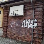Graffitienfernung auf Klinkerwand