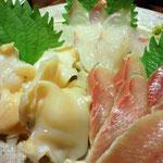赤バイ貝、いわし刺身、鯒刺身